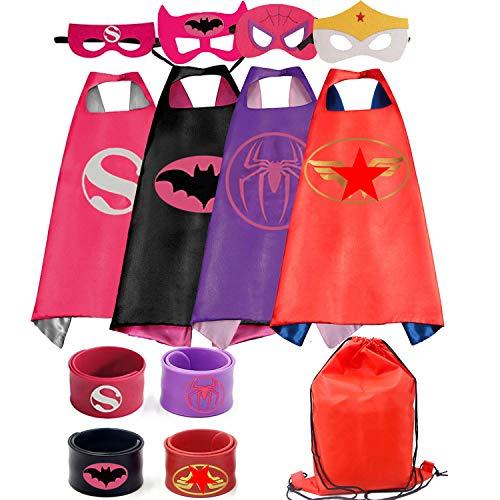 Little Girl Superhero (RioRand Kids Costumes 4PCS Superhero Capes with Masks and Slap Bracelets for Girls Dress Up Party)