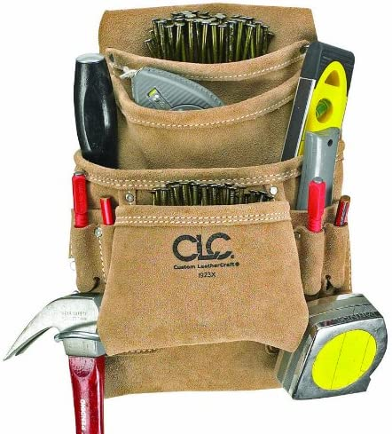 CLC Custom Leathercraft I923X Suede Carpenter s Nail and Tool Bag, 10 Pocket