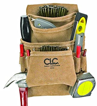 CLC Custom Leathercraft I923X Suede Carpenter's Nail and Tool Bag, 10 Pocket