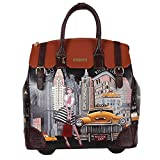 Nicole Lee Women's Exclusive Taxi New Tork Print Rolling Business Laptop Compartment, Wheeled Travel Tote, Taxi Goes New York, One Size