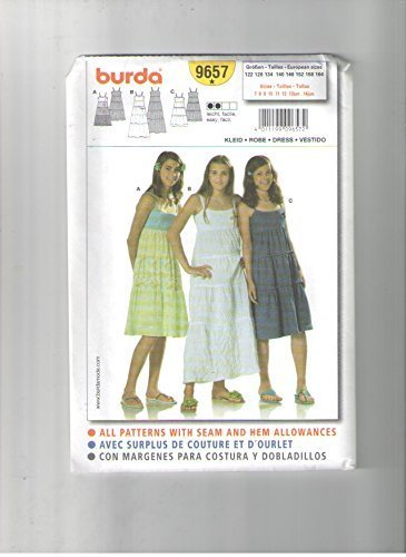 - Burda 9657 Sewing Pattern for Girls Raised Waist Tiered SUN Dress with Binding Trims and Straps in 2-lengths 7 8 9 10 11 12 13jun 14jun