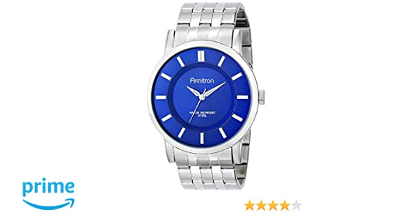 Amazon.com: Armitron Mens 20/4962BLSV Blue Sunray Dial Silver-Tone Bracelet Watch: Watches