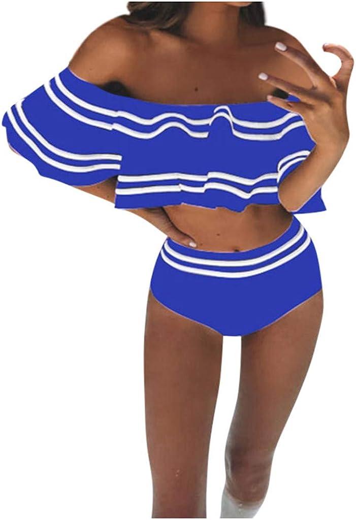 Ulanda Women Retro Ruffled Off Shoulder Tops with High Waist Bottom 2 Piece Swimsuit Beachwear Swimwear