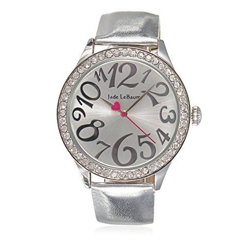 Band Bezel Wrist Watch (Womens Wrist Watch Silver Tone Leather Band Round Face Crystal Bezel Jade LeBaum - JB202868G)