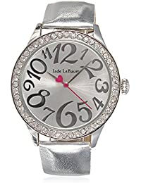 Womens Wrist Watch Silver Tone Leather Band Round Face Crystal Bezel Jade LeBaum - JB202868G