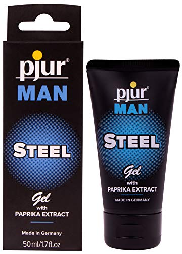 (Pjur MAN Steel Gel (1.7 Ounce / 50 Milliliter) - Silicone-Based Intense Massage Gel with Paprika Extract for Men Skin Care)