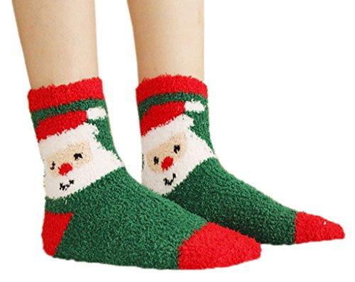 ドライブ疼痛破壊するToyobuy(トヨベイ) レディース 女の子 5足セット 可愛い クリスマス ふわふわ 厚手 防寒 フランネル ストッキング 家居 スポーツ ソックス 冬用靴下