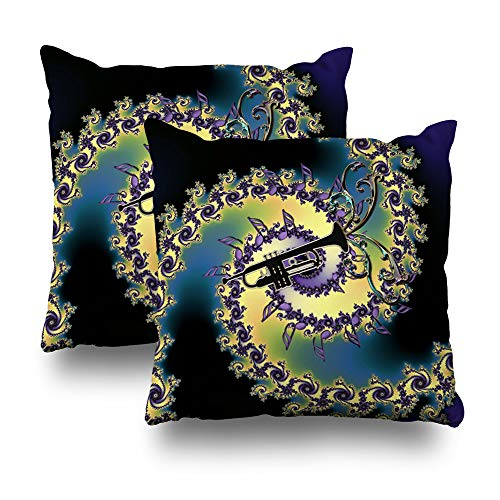 ow Case Cotton Polyester Blend Throw Pillow Covers Music Trumpet Notes Fractal Swirl Bed Home Decor Cushion Cover 18X18 Inch ()