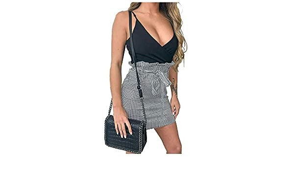 Women/'s Ladies Hounds Dog Tooth Mono Skirt Chrome Belted Paper Bag Mini Skirts