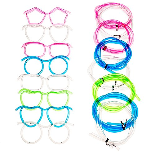 Eye Glasses Drinking Straw,Funny Party Supplies Silly Straw Glasses,Kids Glasses Straws,Tube Sets Party Supplies for Adult Parties (wedding, anniversary, birthday parties),4 Pack, Assorted Colors ()