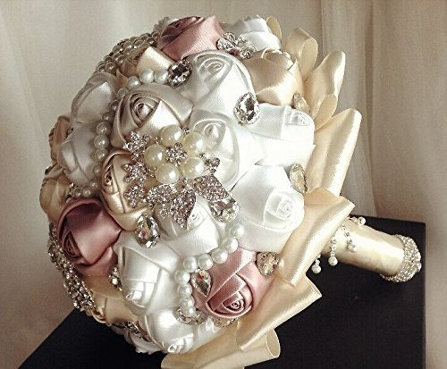 Made to order Brooch Bouquet Wedding Bridal Flowers Satin Roses Bride Bridesmaids