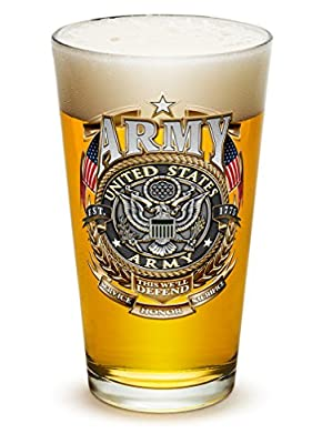Pint Glasses - Armed Forces Gifts for Men or Women - Army Men American Beer Glassware - Army Gold Shield Beer Glasses with Logo (16 Oz)