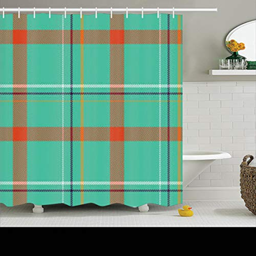 ArtsDecor Shower Curtains Sets with Hooks 66 x 72 Inches Severe Tartan Pattern Scottish Woven Abstract Waterproof Polyester Fabric Bath Bathroom Curtain - Young University Brigham Fabric