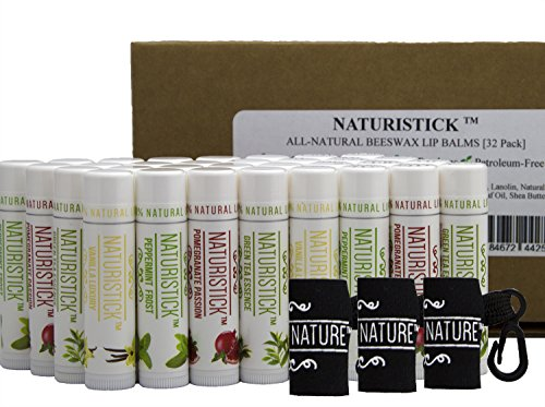 Price comparison product image 32 All-Natural Beeswax Lip Balm Bulk Pack with 3 Free Holders by Naturistick,  Best Healing Chapstick for Dry,  Chapped Lips with Aloe Vera,  Vitamin E,  Coconut Oil for Men,  Women and Kids,  Made in USA