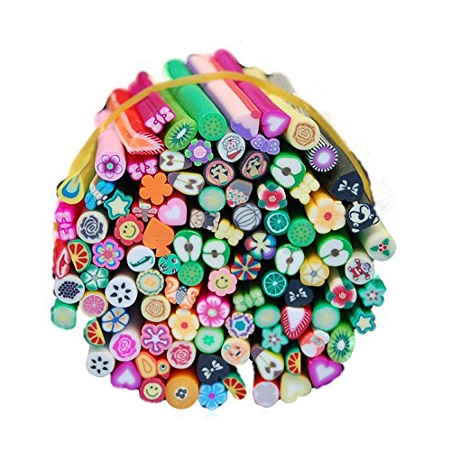 Warm Girl 100 Pcs/Set 3D Nail Art Fimo Canes Stick Rods Polymer Clay Stickers Nail Decoration for Acrylic UV Gel Manicures Set