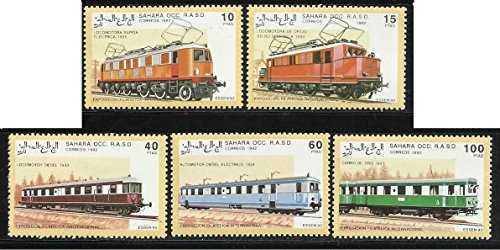 - Sahara Occ. Stamps 1992 MNH 5v. Electric & Diesel Locomotives Trains (Collectible Postage Stamps)