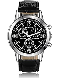 Mens Watch Wristwatch KUXIEN Men's Classic Casual Analog Quartz Wrist Watch with Black Leather Band