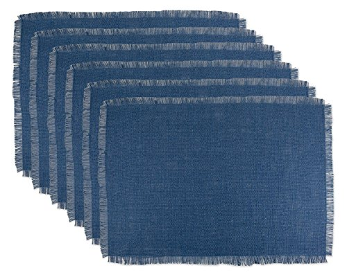 DII 100% Jute Rustic Vintage Placemat for Parties BBQ's Everyday & Holidays Use (Set of 6), Nautical Blue