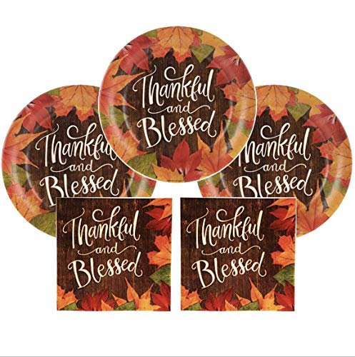 Thanksgiving Appetizer Plates (Fall Party Supplies Thankful And Blessed Thanksgiving Party Plates 20 Count Large Appetizer Dessert Plates & Napkins Leaves Fall themed)