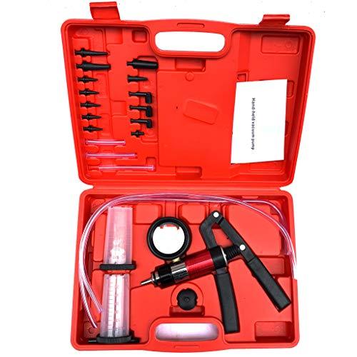 - 21 PC Vacuum Pressure Pump Tester Tool, Hand Held Vacuum Pressure Pump Brake Bleeding Tester Kit Adapters Brake Bleeder Test Kits Car Detector Repair Tool (Red)