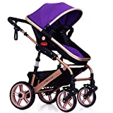 Festnight Baby Stroller Foldable Travel Pram Convertible Baby Carriage with Multi-Positon Reclining Seat Extended Canopy Newborn Infant Toddler Pushchair Purple