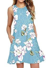 bd29afe21ff9 Women Summer Casual T Shirt Dresses Beach Cover up Plain Pleated Tank Dress