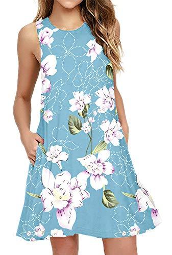 (BISHUIGE Women's Floral Summer Work Casual T Shirt Dresses Sleeveless Midi Beach Dress with Pockets Light Blue)