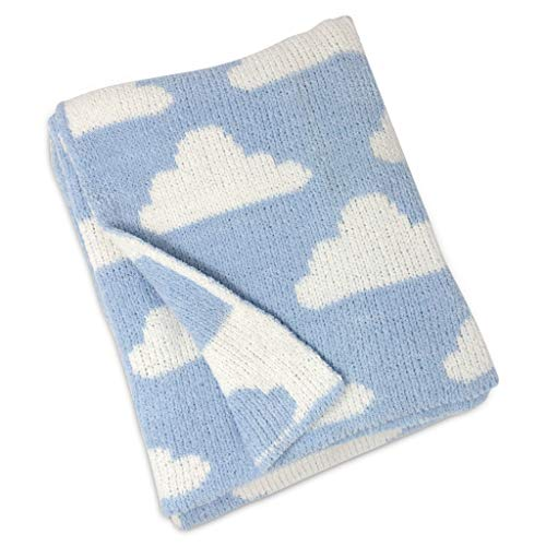 Living Textiles Chenille Baby Blanket. Blue Clouds Ultra-Soft Throw Blanket for Cribs and Strollers (40x30 inch)
