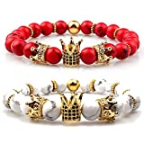 GVUSMIL Imperial Crown Bead Bracelet King&Queen Luxury Charm Couple Jewelry Xmas Gift for Women Men (Red Turquoise+White Howlite)