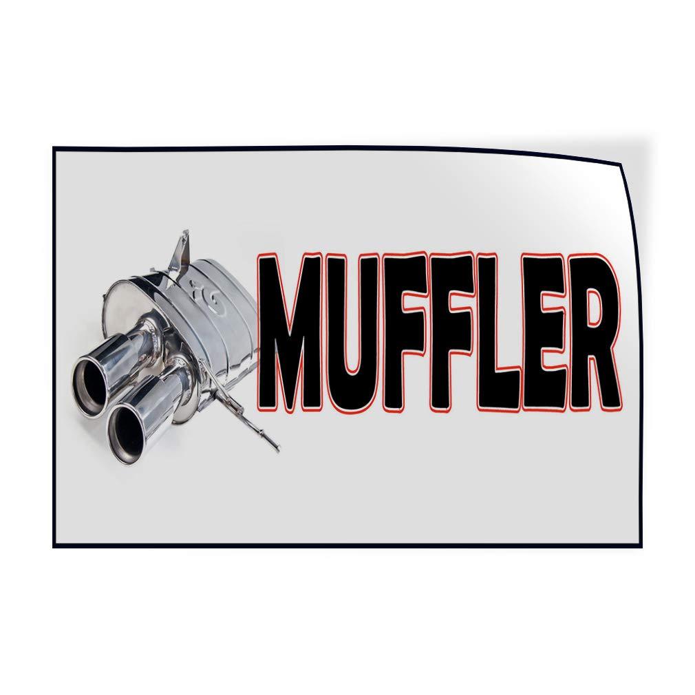 Decal Sticker Multiple Sizes Muffler White Black Grey Automotive Car Muffler Outdoor Store Sign White One Sticker 69inx46in