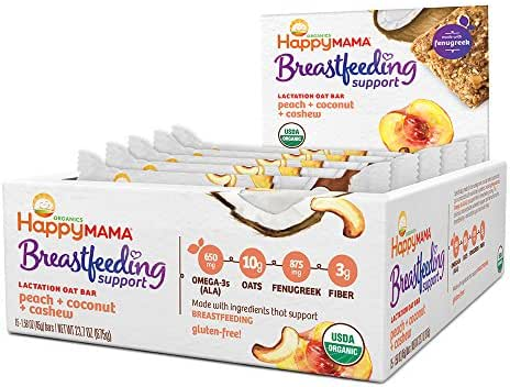 Happy Mama Breastfeeding Support Lactation Oat Bars Peach Coconut & Cashew, 1.58 Ounces, 15 Count Box