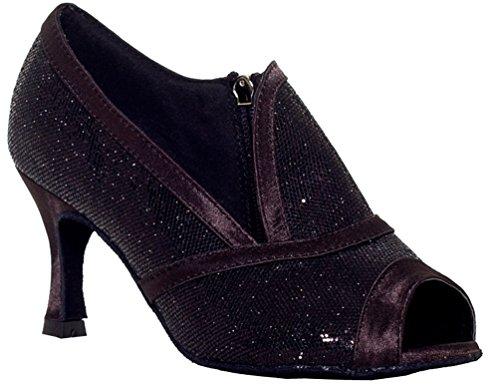 Abby Yfyc-l001 Dames Latin Tango Ballroom Professionele Maat Uitlopende Hak 3/4 Peep-teen Pu Dansschoenen Grijs
