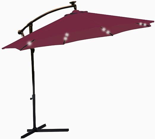 Sombrilla de jardín de 3 m, sombrilla de luces LED para exteriores, resistente al agua, parasol solar para patio, voladizo para colgar, inclinación plegable, manivela para patio, sombrilla de playa: Amazon.es: Jardín
