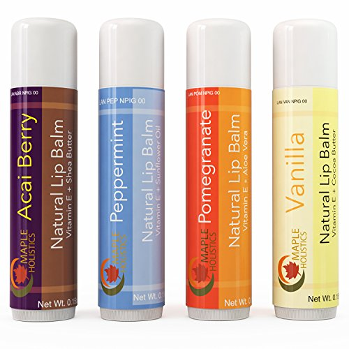 Natural Therapeutic Lip Balm for Dry and Chapped Lips - Four Flavor Multi-pack for Women & Men - Moisturizing Beeswax Treatment with Aloe Vera, Shea Butter and Vitamin E - USA Made By Maple Holistics