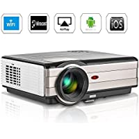 Wireless Projector WiFi 3500 Lumens High Brightness 1080p Video porjector 1080x800 HDMI VGA USB Andriod Home Cinema Theater for iPad iPhone Smartphone IOS Game Movie Party Indoor Outdoor Entertainment