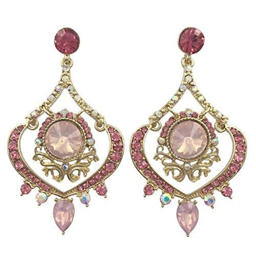 Vintage Look Rhinestone Fancy Formal Prom Drop Dangle Post Earrings (Pink Gold Tone) -