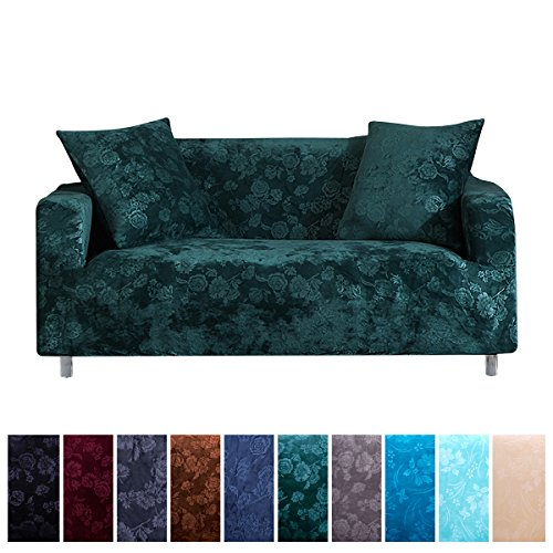 Dark Large Green (Stretch Sofa Covers Furniture Protector Non Slip Slipcovers for Sofa Extra Large, 1 Piece Polyester Spandex Embossing Flower Fabric Anti-wrinkle Couch Cover (Sofa Extra Large, Dark Green))