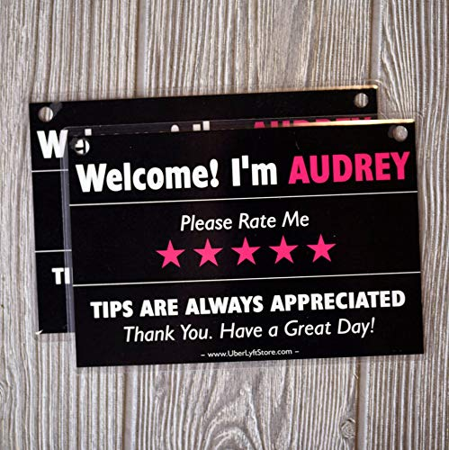 Personalized LYFT Tips & Ratings Sign, Removable Headrest Display Card Placard Decals (Custom Name Printed), Increase Tips & 5 Star Ratings --- Best Accessory for Rideshare Drivers (2 Pack)