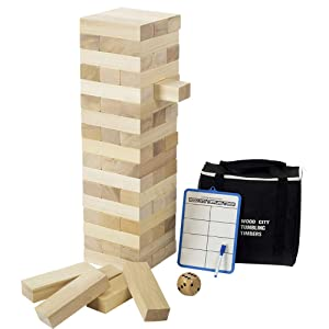 Giant Toppling Tower (Stacks to 4 Feet), Gentle Monster Large Size Wooden Timber Tower, Classic Outdoor Games for Adult Kids Family, Jumbo Blocks Lawn Games 56 Pcs with Dice & Rules