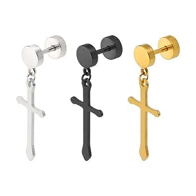 240e0e956 Molike Jewelry 3 Pairs Stainless Steel Hoop Huggie Stud Earrings Cross  Dangle Earrings for Men Women