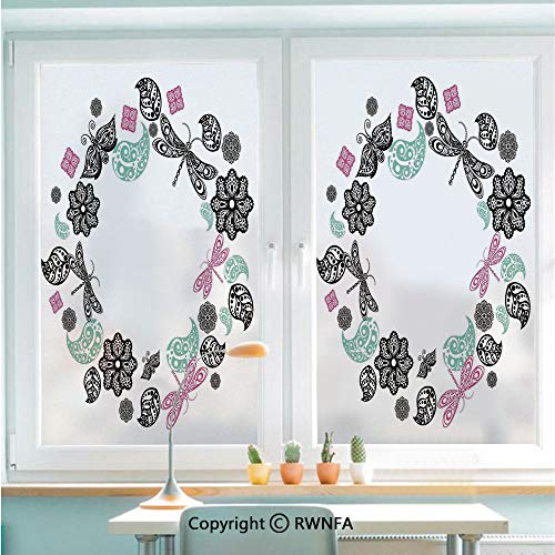 Removable Static Decorative Privacy Window Films Floral Ornamental Ethnic Round with Dragonflies Butterfly Leaves Pattern for Glass (22.8In. by 35.4In),Pink Blue Black