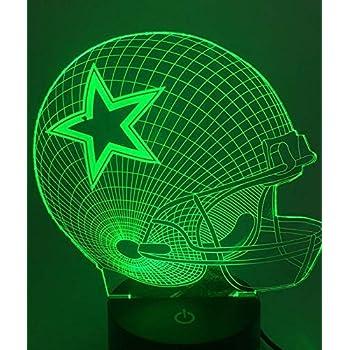 Threetoo Visual Creative Amazing 7 Colors Optical Illusion 3D Glow LED Lighting Nightlight Room Decor Table Lamps (Helmet) Dallas Cowboys