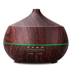 TONERONE 400ml Ultrasonic Aroma Essential Oil Diffuser Cool Mist Air Humidifier 4 Timers Setting 7 Color LED Light Changing & Auto Shut-off Function for Home Office Living Room Bedroom Spa Black