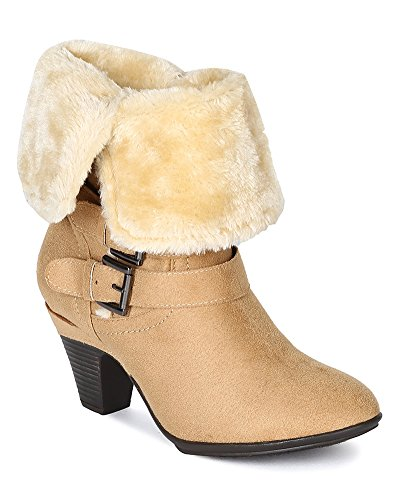 Bumper BF70 Women Suede Round Toe Fur Shearling Foldable Boot Taupe y6TmjNl