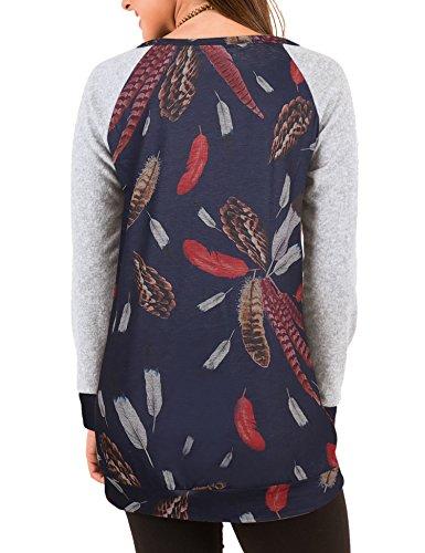 Roaays M Tunique À Manches Longues Décontracté Style Robe T-shirt Lâche Des Femmes 02-bleu Marine-multicolore