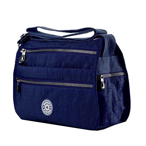 De la Mujer Casual Nylon bolsas de mensajero Cruz cuerpo bolsa de hombro Multi bolsillo de viaje bolso de mano azul marino