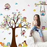 Best Birds Stickers For Wall Arts - Amaonm Removable Giant Brown Tree & Cororful Leaves Review