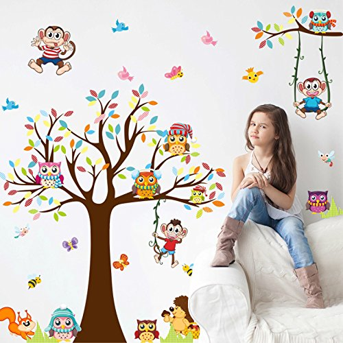 Amaonm Removable Giant Brown Tree & Cororful Leaves Wall Decal Natural Jungle Wildlife Animals Owls,Monkey,Butterfly,Birds DIY home art Decor Wall Stickers for Bedroom Living room Nursery room
