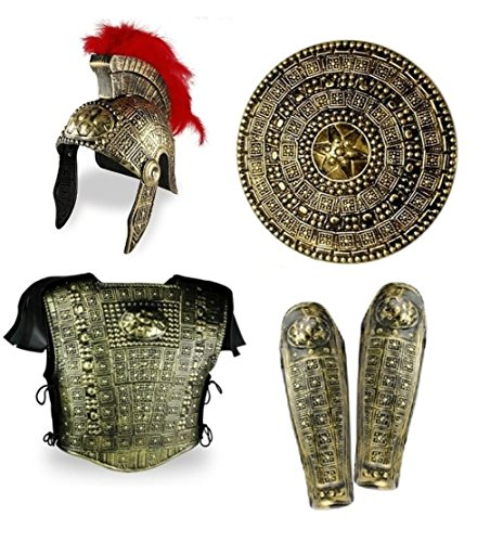 Nicky Bigs Novelties Roman Gladiator Costume Armor Spartan Greek Warrior Gold Helmet 6Pc Set Shield - Greek Warrior Costume Helmet
