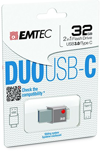 EMTEC Duo USB-C 32GB USB 3.0/USB Type C Flash Drive Gray ECMMD32GT403